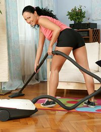 Lovely housewife vacuums..